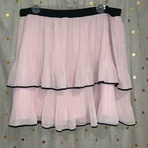 Pink Pleaded Tier Skirt
